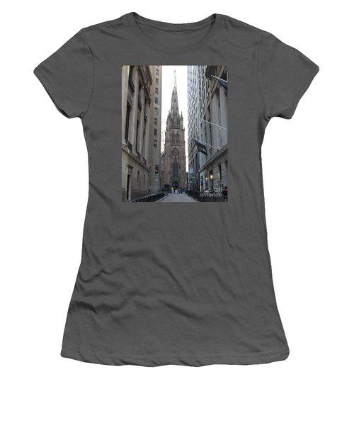 Wall Street Leading To Trinity Church Women's T-Shirt (Junior Cut) by John Telfer