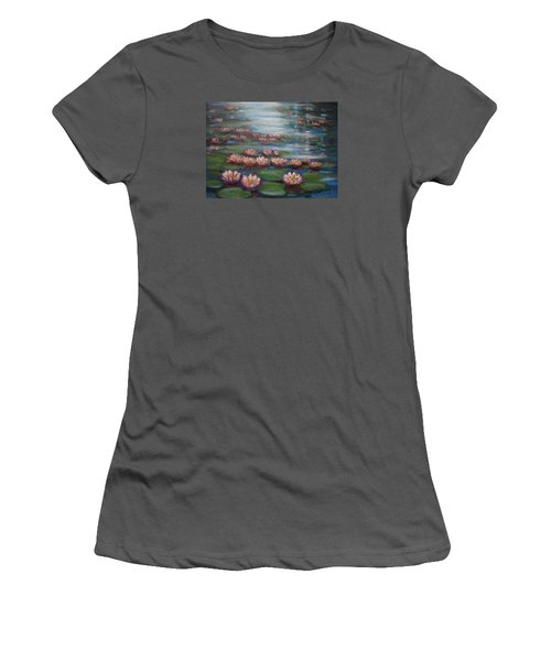 Water Lilies In Monet Garden Women's T-Shirt (Athletic Fit)
