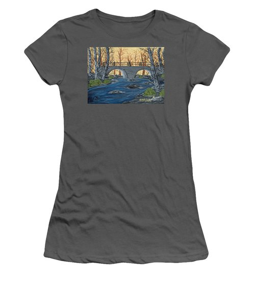 Women's T-Shirt (Junior Cut) featuring the painting Water Under The Bridge by Brenda Brown