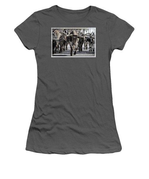 Watercolor Longhorns Women's T-Shirt (Junior Cut) by Joan Carroll