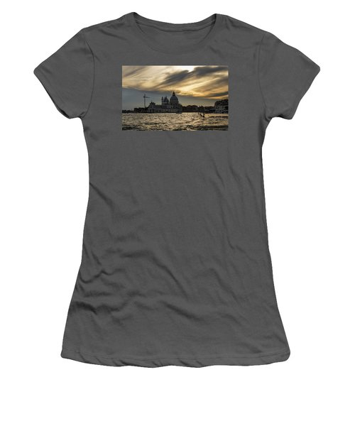 Women's T-Shirt (Junior Cut) featuring the photograph Watercolor Sky Over Venice Italy by Georgia Mizuleva