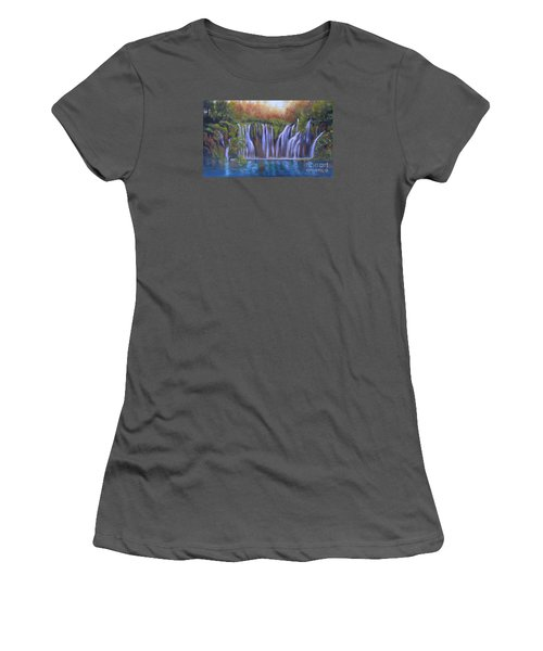 Women's T-Shirt (Junior Cut) featuring the painting Waterfalls - Plitvice Lakes by Vesna Martinjak