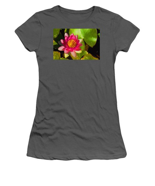 Waterlily Impression In Fuchsia And Pink Women's T-Shirt (Athletic Fit)