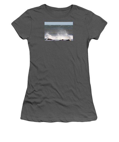 Waves Pounding The Montauk Surf Women's T-Shirt (Junior Cut) by John Telfer