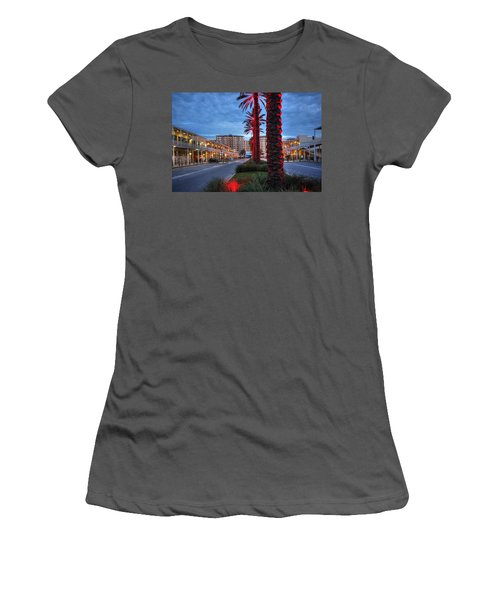 Women's T-Shirt (Junior Cut) featuring the digital art Wharf Red Lighted Trees by Michael Thomas
