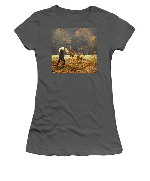 Women's T-Shirt (Junior Cut) featuring the photograph Whirling With Leaves by Carol Lynn Coronios