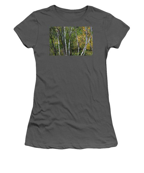 Women's T-Shirt (Junior Cut) featuring the photograph White Birches In The Woods by Denyse Duhaime