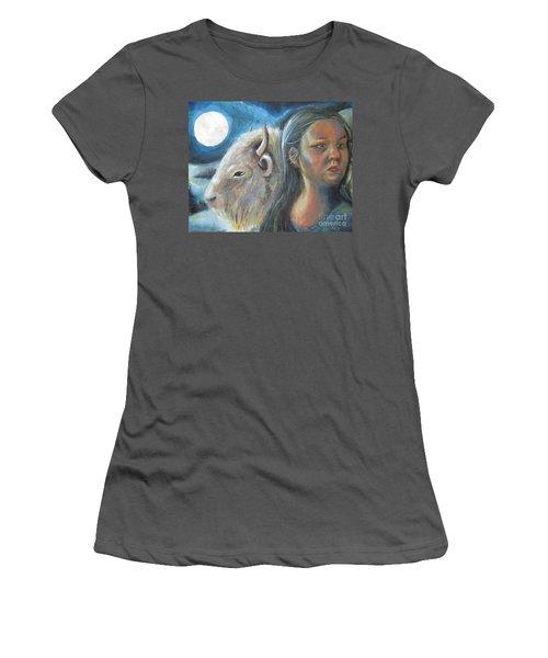 White Buffalo Portrait Women's T-Shirt (Athletic Fit)