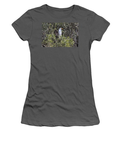 Women's T-Shirt (Junior Cut) featuring the photograph White Egret In The Swamp by Christiane Schulze Art And Photography