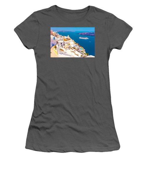 White Houses Of Santorini Women's T-Shirt (Athletic Fit)