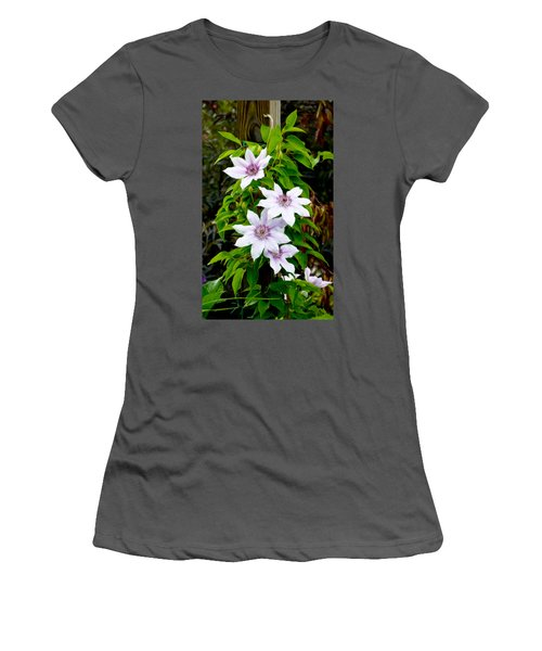 White With Purple Flowers 2 Women's T-Shirt (Athletic Fit)