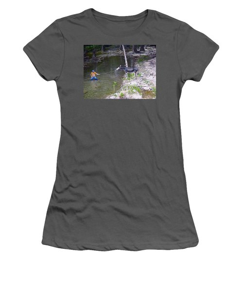 Women's T-Shirt (Junior Cut) featuring the photograph Who Is More Stubborn by John Glass