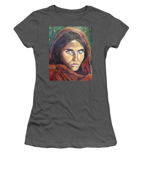 Women's T-Shirt (Junior Cut) featuring the painting Who's That Girl? by Belinda Low