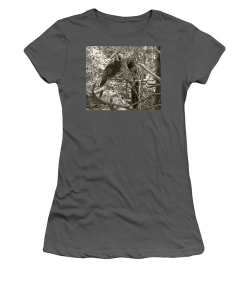 Wild Hawaiian Parrot Sepia Women's T-Shirt (Athletic Fit)