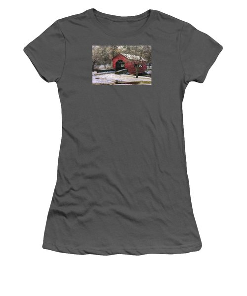 Winter Crossing In Elegance - Carroll Creek Covered Bridge - Baker Park Frederick Maryland Women's T-Shirt (Athletic Fit)