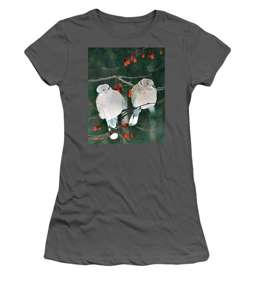 Winter Doves Women's T-Shirt (Athletic Fit)