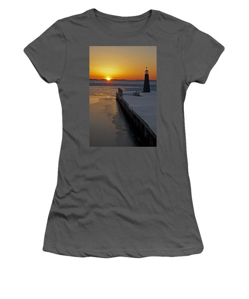 Winter Sunset On Lake Winneconne Women's T-Shirt (Junior Cut) by Judy  Johnson
