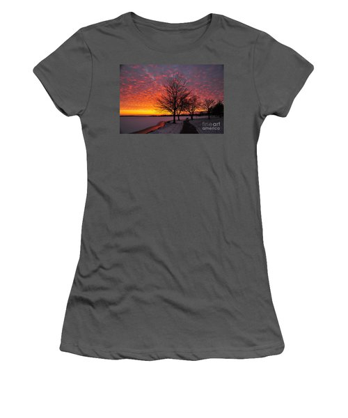 Women's T-Shirt (Junior Cut) featuring the photograph Winter Sunset by Terri Gostola