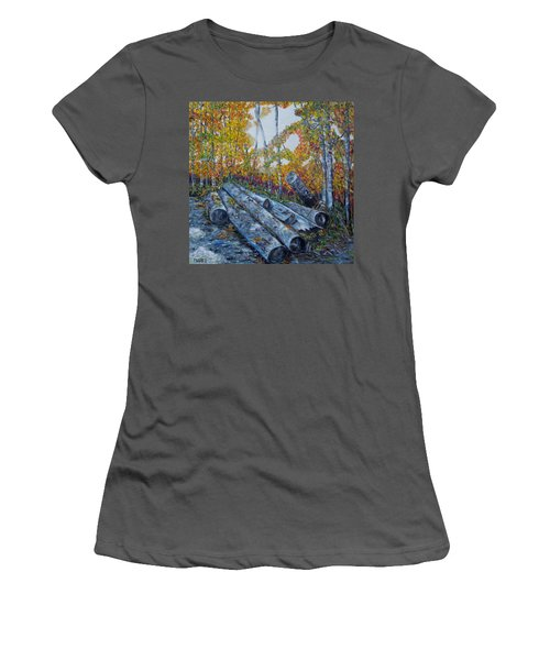Women's T-Shirt (Junior Cut) featuring the painting Winter's Firewood by Marilyn  McNish