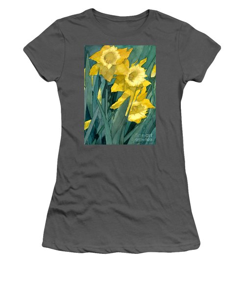 Watercolor Painting Of Blooming Yellow Daffodils Women's T-Shirt (Athletic Fit)