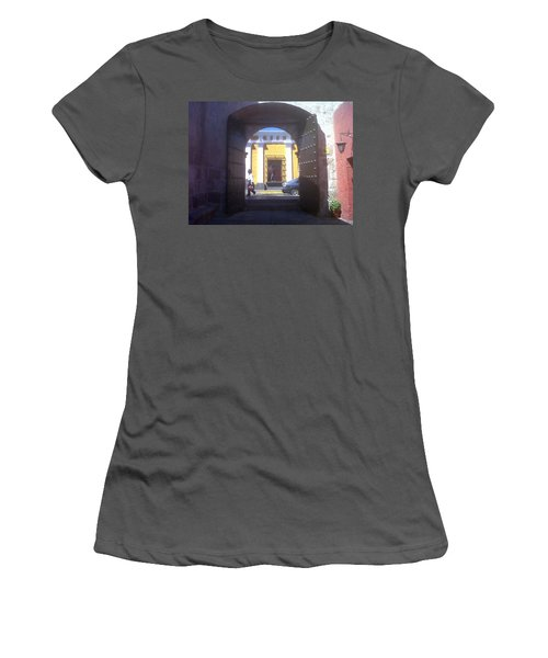 Women's T-Shirt (Junior Cut) featuring the photograph Yellow Stucco by Lew Davis