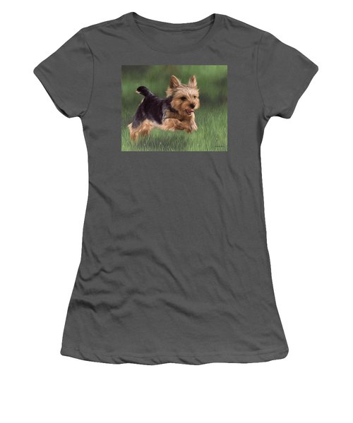Yorkshire Terrier Painting Women's T-Shirt (Athletic Fit)