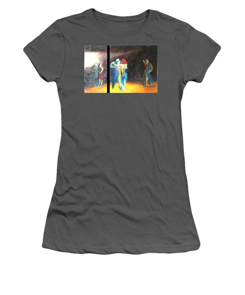 Women's T-Shirt (Junior Cut) featuring the painting You Shine  Diptych by Keith Thue