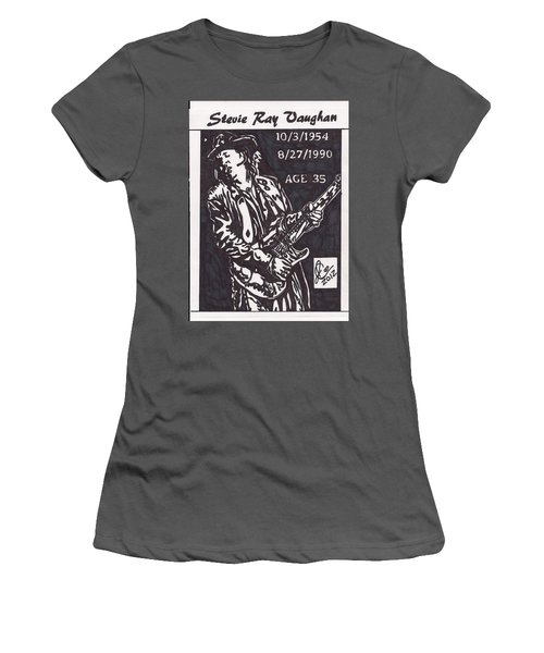 Women's T-Shirt (Junior Cut) featuring the drawing Stevie Ray Vaughn by Jeremiah Colley