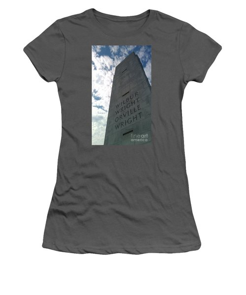 Women's T-Shirt (Junior Cut) featuring the sculpture Wright Brothers Memorial by Tony Cooper