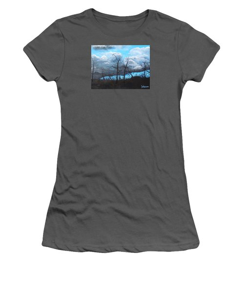 Women's T-Shirt (Junior Cut) featuring the painting A Cloudy Day by Dan Whittemore