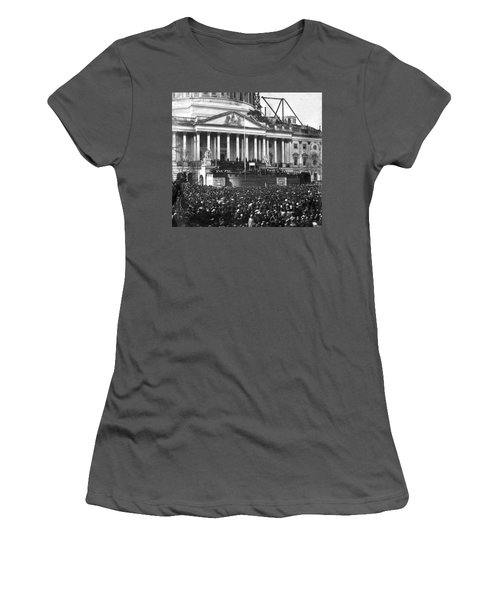 Women's T-Shirt (Junior Cut) featuring the photograph Abraham Lincolns First Inauguration - March 4 1861 by International  Images