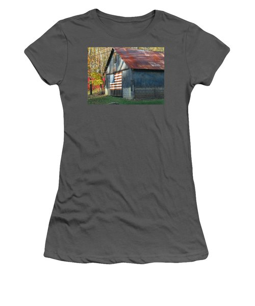 Women's T-Shirt (Junior Cut) featuring the photograph Americana Barn by Clara Sue Beym