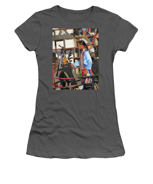 Women's T-Shirt (Athletic Fit) featuring the photograph At Blackfeet Pow Wow 03 by Ausra Huntington nee Paulauskaite