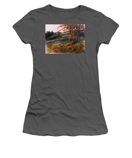 Women's T-Shirt (Junior Cut) featuring the painting Autumn Intensity by John Williams