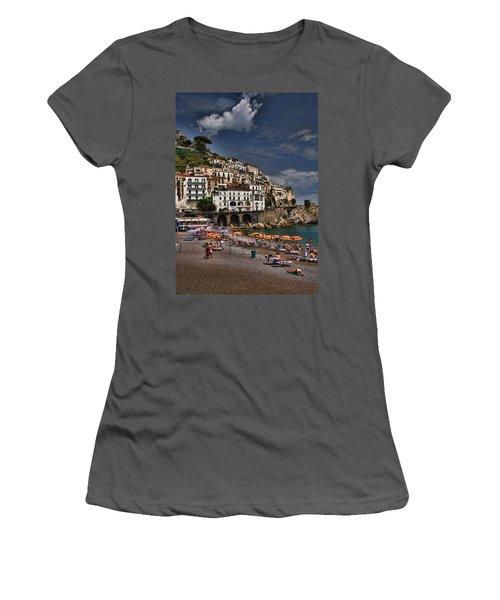Beach Scene In Amalfi On The Amalfi Coast In Italy Women's T-Shirt (Athletic Fit)