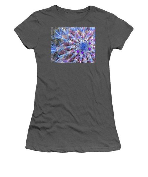 Blue Cactus Women's T-Shirt (Junior Cut) by Rebecca Margraf
