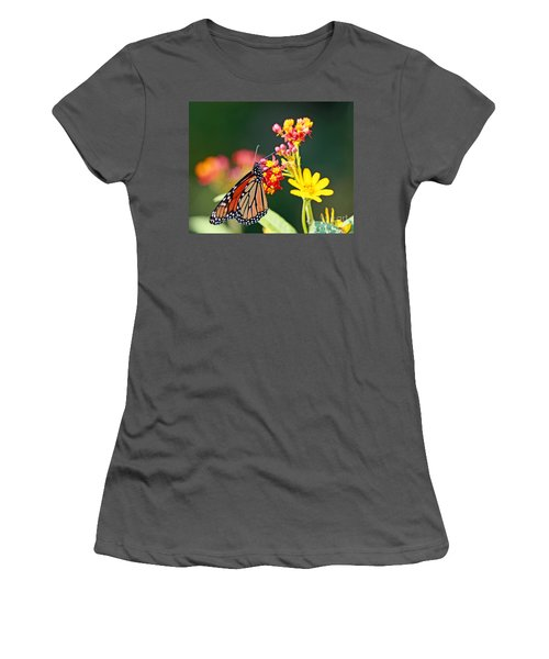 Butterfly Monarch On Lantana Flower Women's T-Shirt (Athletic Fit)