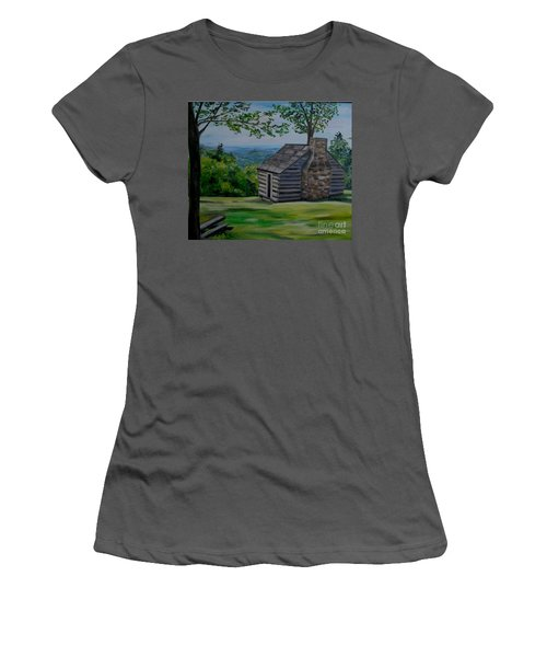 Women's T-Shirt (Junior Cut) featuring the painting Cabin On The Blue Ridge Parkway In Va by Julie Brugh Riffey