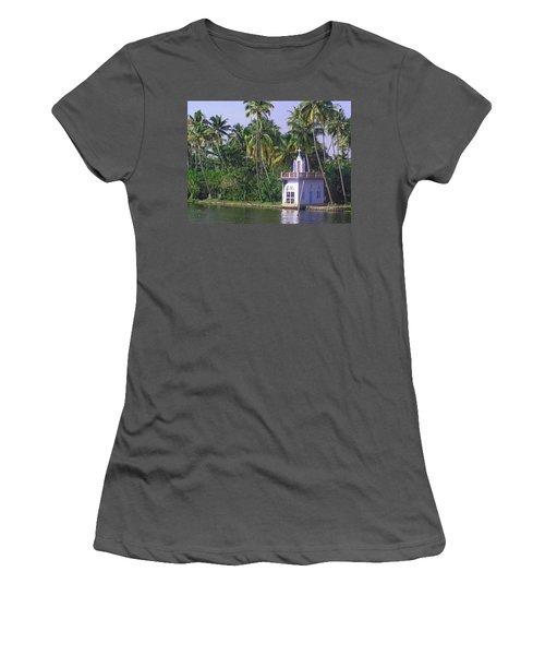 Church Located On A Coastal Lagoon In Kerala In India Women's T-Shirt (Junior Cut)