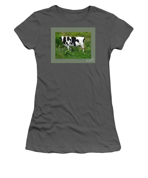 Women's T-Shirt (Junior Cut) featuring the photograph Cow In The Flowers by Patricia Overmoyer