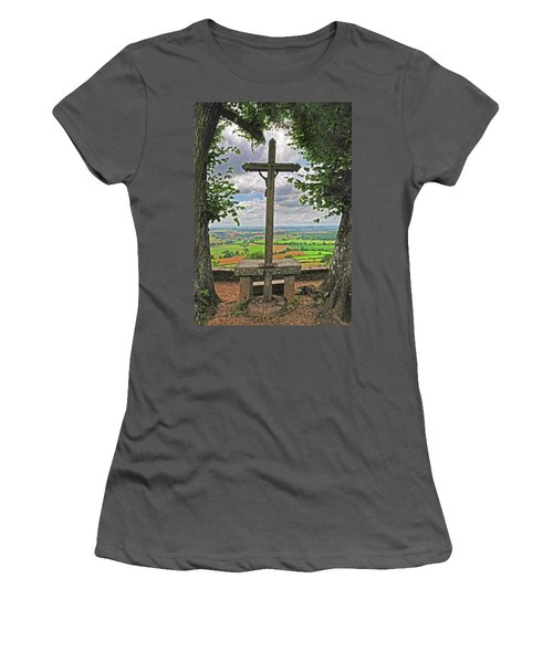 Women's T-Shirt (Junior Cut) featuring the photograph Crucifix Overlooking The French Countryside by Dave Mills