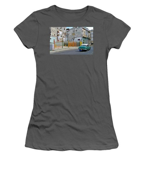 Women's T-Shirt (Junior Cut) featuring the photograph Cuba Vintage American Car  by Lynn Bolt