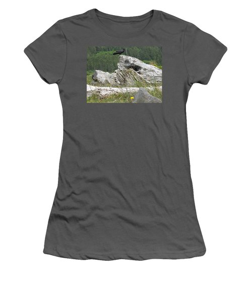 Women's T-Shirt (Junior Cut) featuring the photograph Dandelion Crow - On Oregon Coast Driftwood  by Cliff Spohn