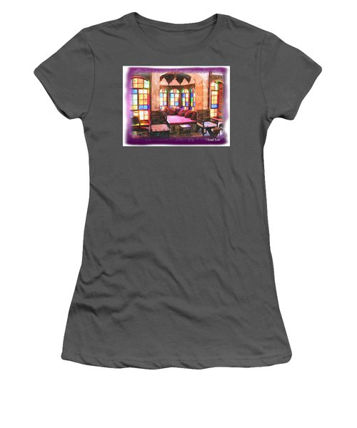 Women's T-Shirt (Athletic Fit) featuring the photograph Do-00520 Emir Bachir Palace Interior-violet Bkgd by Digital Oil