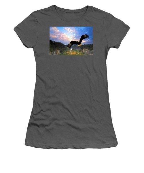 Women's T-Shirt (Junior Cut) featuring the photograph Eagle At Paint Creek Dam by Randall Branham