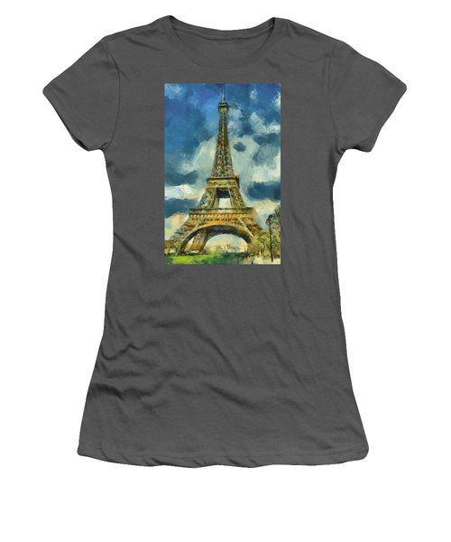 Eiffel Tower In Spring Women's T-Shirt (Athletic Fit)
