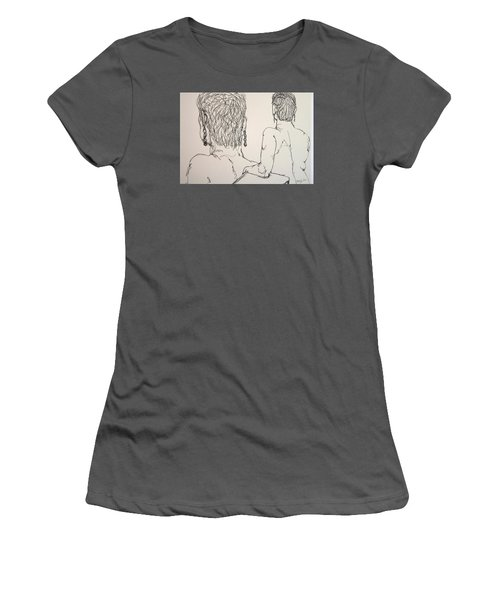 Female Nude Beside Herself Women's T-Shirt (Athletic Fit)