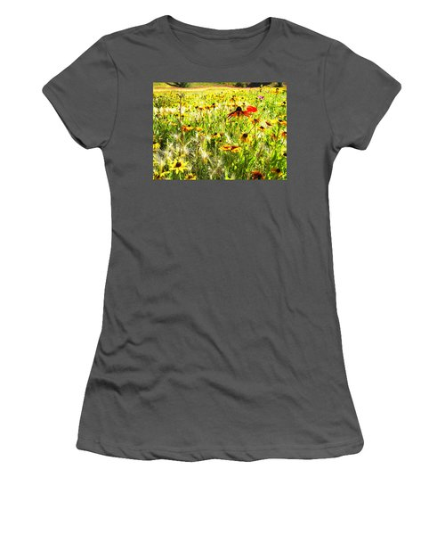Field Of Bright Colorful Wildflowers Women's T-Shirt (Athletic Fit)