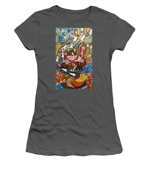 Footsteps To Peace Colorful Abstract Symbolism With Urban Cityscape Path Tracks Bird Dove Women's T-Shirt (Athletic Fit)