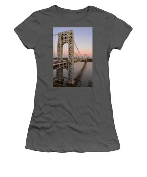George Washington Bridge At Sunset Women's T-Shirt (Athletic Fit)